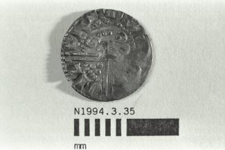 Coin, penny, double struck, part of a hoard found at White Lane, Greywell, Mapledurwell and Up Nately, Hampshire in 1989, issued by Henry III, minted by the moneyer Nicole in London, 1248-1250