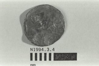 Coin, penny, part of a hoard found at White Lane, Greywell, Mapledurwell and Up Nately, Hampshire in 1989, issued by Henry III, minted by moneyer Gilbert at Canterbury, Kent, 1251-1272