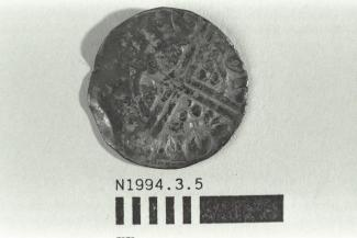 Coin, penny, part of a hoard found at White Lane, Greywell, Mapledurwell and Up Nately, Hampshire in 1989, issued by Henry III, minted by moneyer Iohs at Canterbury, Kent, 1251-1272
