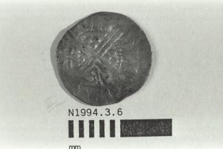 Coin, penny, part of a hoard found at White Lane, Greywell, Mapledurwell and Up Nately, Hampshire in 1989, issued by Henry III, minted by moneyer Ion at Canterbury, Kent, 1251-1272