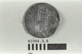 Coin, penny, part of a hoard found at White Lane, Greywell, Mapledurwell and Up Nately, Hampshire in 1989, issued by Henry III, minted by moneyer Nicole at Canterbury, Kent, 1248-1250