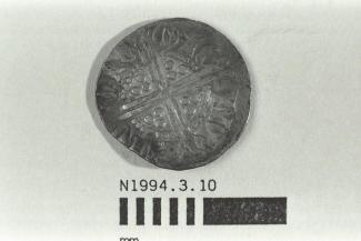 Coin, penny, part of a hoard found at White Lane, Greywell, Mapledurwell and Up Nately, Hampshire in 1989, issued by Henry III, minted by moneyer Nicole at Canterbury, Kent, 1251-1272