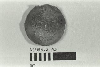 Coin, penny, part of a hoard found at White Lane, Greywell, Mapledurwell and Up Nately, Hampshire in 1989, issued by Henry III, minted by the moneyer Renaud in London, 1251-1272
