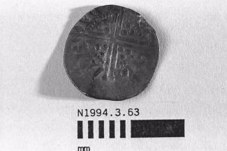 Coin, penny, part of a hoard found at White Lane, Greywell, Mapledurwell and Up Nately, Hampshire in 1989, issued by Henry III, minted by the moneyer Adam in Newcastle upon Tyne, Tyne and Wear, 1248-1250