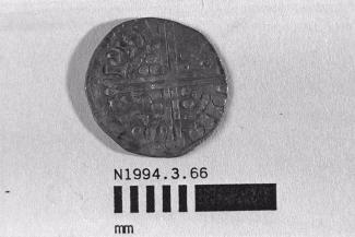 Coin, penny, part of a hoard found at White Lane, Greywell, Mapledurwell and Up Nately, Hampshire in 1989, issued by Henry III, minted by the moneyer Philip in Northampton, 1248-1250
