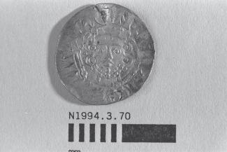 Half a coin, halfpenny, part of a hoard found at White Lane, Greywell, Mapledurwell and Up Nately, Hampshire in 1989, issued by Henry III, minted by the moneyer Ricard, 1251-1272