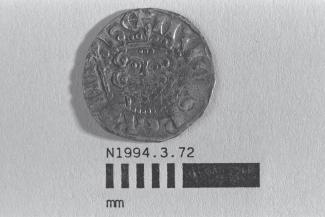Coin, penny, part of a hoard found at White Lane, Greywell, Mapledurwell and Up Nately in 1989, issued by Henry III, minted by the moneyer ?Ricard in London, 1251-1272