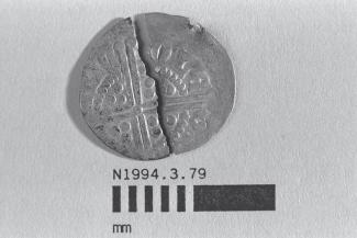 Coin, penny, broken into two halves, part of a hoard found at White Lane, Greywell, Mapledurwell and Up Nately, Hampshire in 1989, issued by Henry III, minted by the moneyer Nicole at Canterbury, Kent, 1251-1272