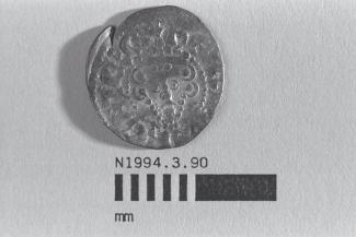 Coin, penny, part of a hoard found at White Lane, Greywell, Mapledurwell and Up Nately, Hampshire in 1989, issued by Henry III, minted by the moneyer Nicole at London, 1248