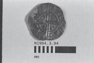Coin, penny, part of a hoard found at White Lane, Greywell, Mapledurwell and Up Nately, Hampshire in 1989, issued by Henry III, minted by the moneyer Renaud at London, 1251-1272