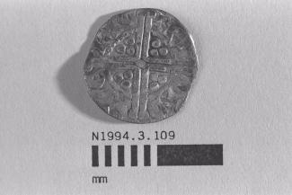 Coin, penny, part of a hoard found at White Lane, Greywell, Mapledurwell and Up Nately, Hampshire in 1989, issued by Henry III in Ireland, minted by the moneyer Ricard in Dublin, Eire, 1251-1254