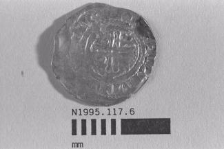 Coin, penny, part of a hoard found by metal detector at Portsdown Hill, near Portchester, Fareham, Hampshire, 1995, issued by Stephen, minted by the moneyer Willem at Wilton, Wiltshire, 1135-1154