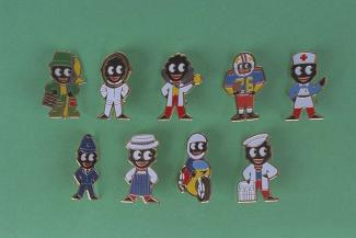 Badge, 9 Robertson's Golly badges, enamelled, 1984 the badges are; nurse, astronaut, policeman, motorbike, doctor, butcher, milkman, baseball player and a fisherman