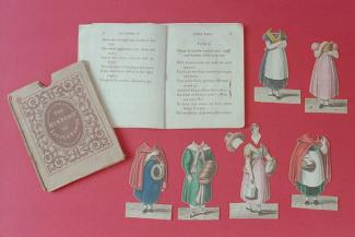 Dressing doll, History of Little Fanny, printed rhyming storybook with six cardboard cut-out costumes and head, 10th Edition, printed by Whiting, Beaufort House, Strand, for S and J Fuller, Temple of Fancy, 34 Rathbone Place, London, 1830 each costume r