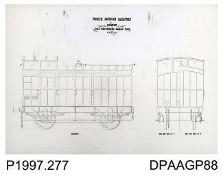 Photograph, black and white, showing a Thornycroft engineering drawing, of a four wheel guards brake van, for North London Railway, Worting Road, Basingstoke, Hampshire