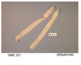 Fan ribbon, white silk ribbon, damaged, approximate width 35mm, approximate length 990mm