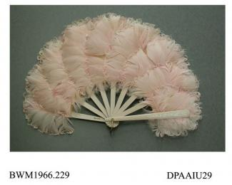 Fan, pink, goose feathers and swansdown, wooden sticks and guards painted pale pink and silver, fontange or half oval shaped, approximate radius at guards 210mm, at centre 290mm, mid twentieth century