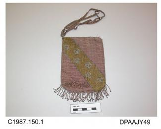 Bag, or reticule, small, closely beaded all over with very fine beads, pale pink with diagonal band of yellow and silver on pink ground with shadow pattern, narrow beaded ribbon drawstring, rings missing from upper edge, base trimmed with pink and silve