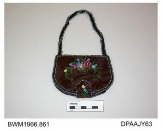 Bag, vanity purse, small, D-shaped fold-over, press-stud and strap closure attached to base, silver and black beaded handle attached to stiffened upper edge, closely beaded in brown with black and silver band around edges, front flap with multicoloured