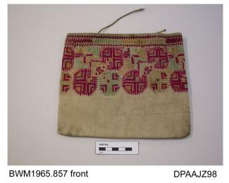 Bag, embroidered cotton on linen, upper portion embroidered with geometric design in carmine, pale green and yellow, cord handles almost entirely missing, approximate width 210mm, approximate depth 190mm, c1870-1910