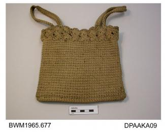 Bag, square, crocheted white cotton with decorative border around top, unlined, matching crocheted handle at each side, approximate width 200mm, approximate depth 205mm, c1900-1920