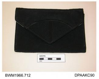 Evening bag, envelope style, black crepe de chine with finely pleated detail on point of flap, lined pale green with internal pocket and matching mirror, approximate width 170mm, approximate depth 115mm, c1930-1949
