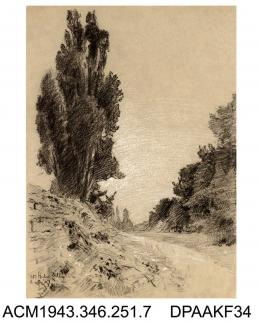 Drawing, chalk and charcoal drawing, in black and white,of pathway leading through trees, near Bradford-on-Avon, Wiltshire, drawn by William Herbert Allen, of Farnham, Surrey, 1880s-1940s