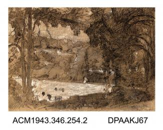 Drawing, pen and ink drawing in black with black and white chalk, on paper, cattle grazing in woodland near Bradford-on-Avon, Wiltshire, drawn by William Herbert Allen, of Farnham, Surrey,August 1927