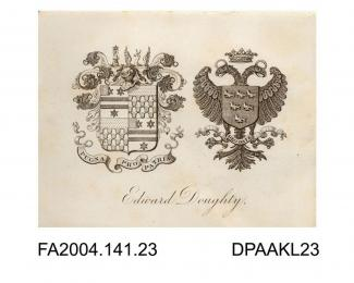 Engraving, the family coats of arms for Sir Edward Doughtyvol 1, page 4 - The Family and Connections