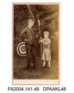 Photograph of a painting, Sir Henry Tichborne, 12th Baronet, aged about 12 years and his younger step-brother with bow and arrows in front of an archery targetvol 1, page 7 - Relatives and Friends