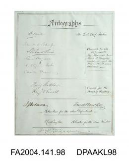 Page of autographs by the Judge, Counsel and Solicitors for the Defendants during the Tichborne v Lushington Trial, 10 May 1871-6 March 1872vol 1, Page 15 - Autographs