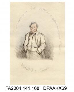 Drawing in pencil, ink and watercolour, Mr George Archdale, sketched in court, probably by Agnes Costeker, 10.5.1871 - 28.2.1874vol 1, page 23 - during Trial of Tichborne v. Lushington