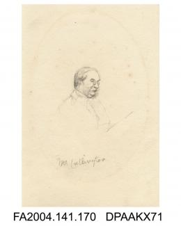 Sketch, pencil, Mr D Cullington, reading wearing pince nez, probably sketched in court, probably by Agnes Costeker, 1871-1874vol 1, page 23 - during Trial of Tichborne v. Lushington