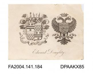 Engraving, the family coats of arms for Sir Edward Doughtyvol 1, page 25