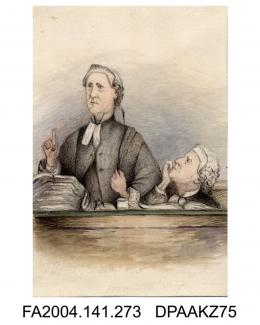 Sketch in pencil, ink and watercolour, Sir John Coleridge and Sir Henry Hawkins QC, during the Trial of Tichborne v Lushington, by Agnes Costeker, 10 May 1871 - 6 March 1872vol 1, page 33 - Sketches in Court during the Trial of Tichborne v Lushington b