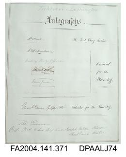 Vol 1, page of autographs by the Judge and legal representatives for the Claimant for the Tichborne v Lushington trial