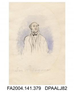 Sketch in pencil, ink and watercolour, Sir W Ferguson, by Agnes Costekervol 1, page 47