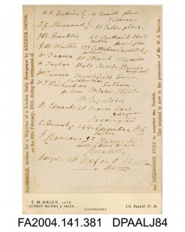 Photograph, list of names and addresses probably of the jury, written by Arthur Orton for a reporter during the retirement of the jury on Regina v Castro, 28 February 1874, taken by E M Haigh of Londonvol 1, page 48