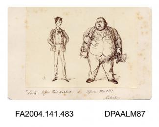 Photograph of a cartoon, Roger Tichborne and the Claimant comparing the size of staturevol 1, page 57