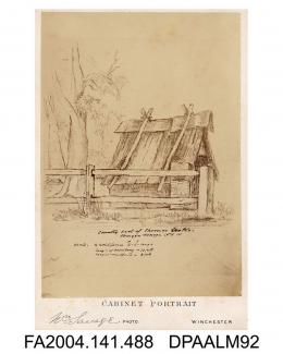 Photograph of a sketch, the shack in Wagga Wagga where Arthur Orton alias Thomas Castro and his wife Mary Ann Bryant lived when first married circa 1865.vol 1, page 58