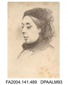 Pencil sketch, Miss Mary Ann Loder or Loader, head only, by Aldridgevol 1, page 59