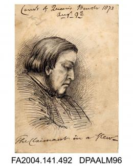 Sketch, pen and ink, the Claimant, head and shoulders, sketched in the Court of Queen's Bench during R v Castro, possibly by G J W Reading, 9 August 1873vol 1, page 59