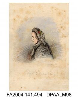 Painting, ink and watercolour, Miss Braine, head and shoulders, sketched in court, by Agnes Costekervol 1, page 60 - Sketches in Court by Agnes Costeker