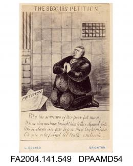 Photograph of a cartoon, the Claimant kneeling in prayer in a prison cell, with verse beneath, photograph taken by L Dolibo of Brightonvol 1, page 66