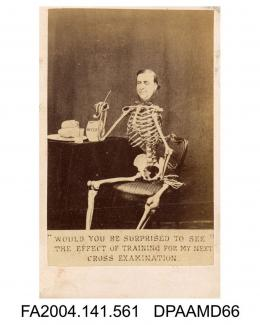 Photograph of a cartoon, a seated skeleton smoking a pipe with the head of the Claimant superimposed, bread and water on the table, photograph taken by W H Mason of Londonvol 1, page 67