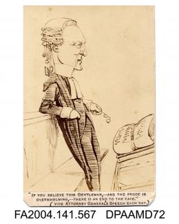 Photograph of a cartoon sketch, Sir John Coleridge, Counsel for the Defendants, in court during Tichborne v Lushingtonvol 1, page 67