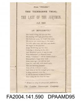 Extract from The Figaro, a satirical poem purporting to be written in 1930, relating to the sketch of the Last Man on the Tichborne Jury by George Cruikshank, printed by The London Stereoscopic Company, 1871-1872vol 1, page 71