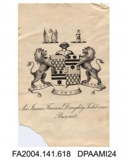 Engraving, the family coat of arms for Sir James Francis Doughty Tichbornevol 1, page 74