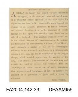 Newspaper cutting, text, wry comment on Sergeant Ballantine, written under the pseudonym Jehu Juniorvol 2, page 36