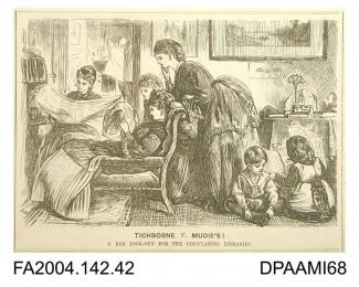 Newspaper cutting, cartoon sketch, a household, men, women and children, all avidly reading newspapers, while books are left on the table, 1871-1874vol 2, page 43